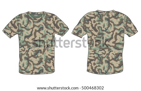 Men's shirt with military camouflage print, front and back view