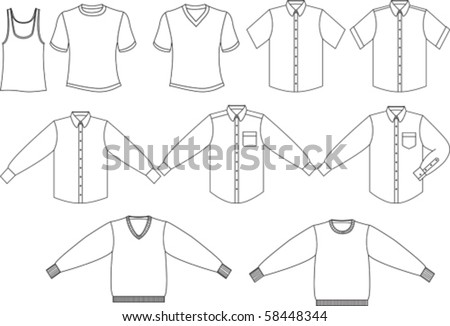 Men s shirts and sweater collection - stock vector