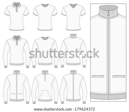Men's short and long sleeve clothes templates (front view). Vector illustration. No mesh. Redact color very easy. Ribbed collar, cuffs and waistband. - stock vector