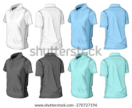 Men's short sleeve polo-shirt. Half-turned front and back views. Vector illustration. - stock vector