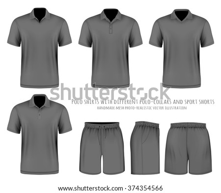 Men's short sleeve polo shirt with different polo-collars and sport shorts. Vector illustration. Fully editable handmade mesh. - stock vector