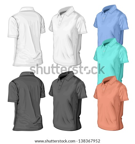 Men's short sleeve t-shirt design templates (half-turned  views). Vector illustration. No mesh.  - stock vector
