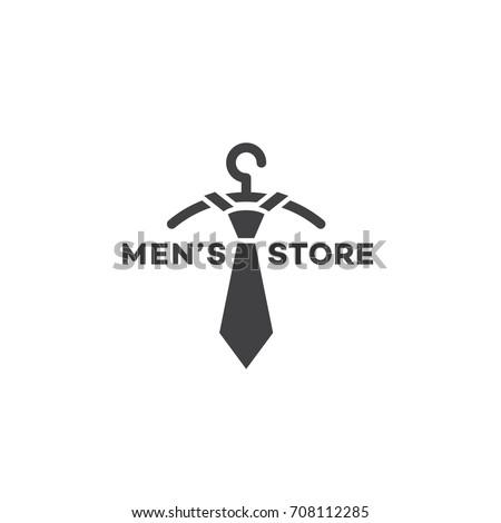 mens store logo template design hanger stock vector royalty free
