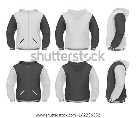 Men's Sweater with zipper and hoddie - stock vector