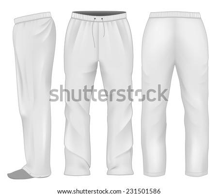 Men's sweatpants white. Vector illustration. - stock vector