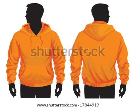 Men's sweatshirt template with human body silhouette - stock vector