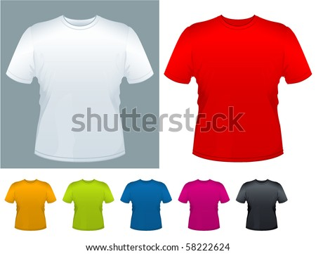 Men's T-shirt vector template. - stock vector