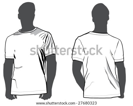 Men's tshirt template with a front and man's silhouette