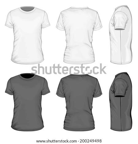Mens white black short sleeve tshirt stock vector for Stock t shirt designs