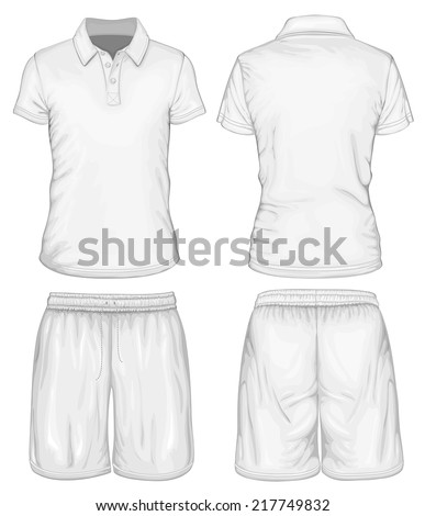 Men's white short sleeve polo-shirt and sport shorts design templates (front and back views). Vector illustration. - stock vector