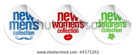 Men`s, women`s and kid`s collection stickers set - stock vector