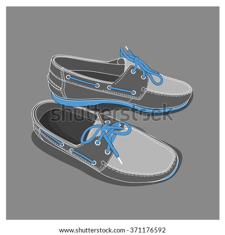 Men shoes pair. Leather footwear. Vector illustration. - stock vector