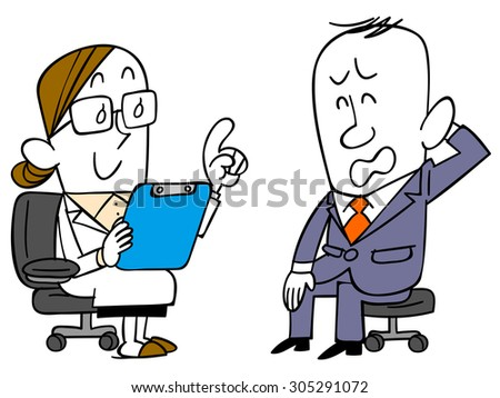 Men suits that receive attention from the doctor - stock vector