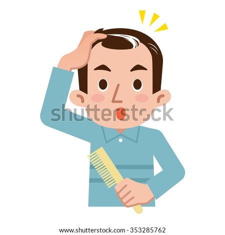 Men surprised to gray hair - stock vector