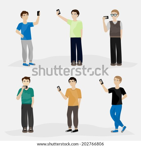 Men Taking A Selfie - Isolated On Gray Background - Vector Illustration, Graphic Design Editable For Your Design - stock vector