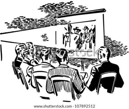 Men Watching Movie - Retro Clipart Illustration - stock vector