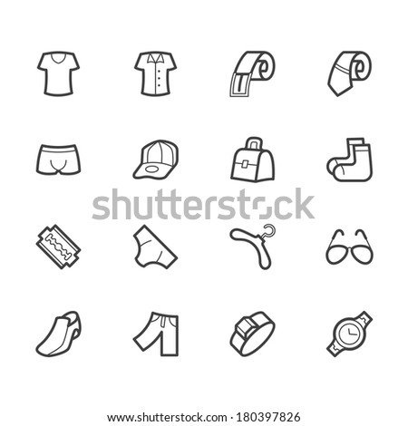 men wear vector icon set on white background - stock vector