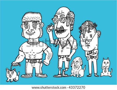 Men With Pets - Vector Illustration