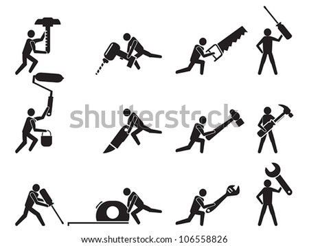 men with tools icons set - stock vector
