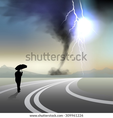 Men with umbrella walking in storm. Vector illustration - stock vector