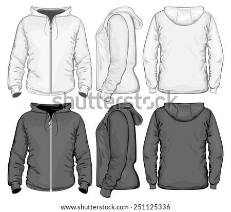 Men zip hoodie white and black. Vector illustration - stock vector