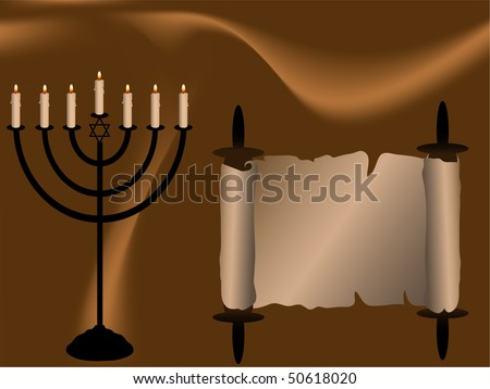 Menorah and Torah scroll on brown abstract background - stock vector