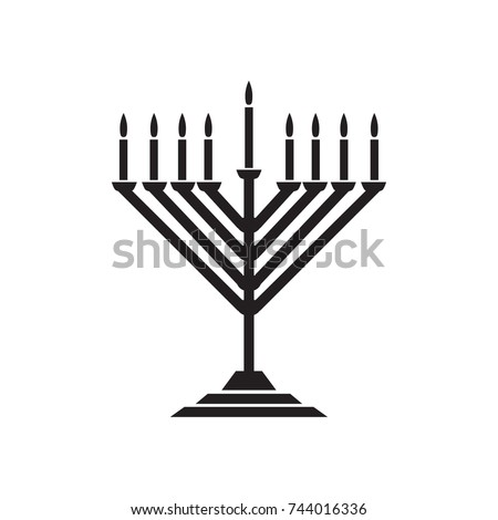 Menorah hanukkah icon. Jewish Holiday symbol menorah - light candelabra with candles silhouette isolated white background. Flat web sign, Israel Holiday symbol, vector concept logo, label illustration