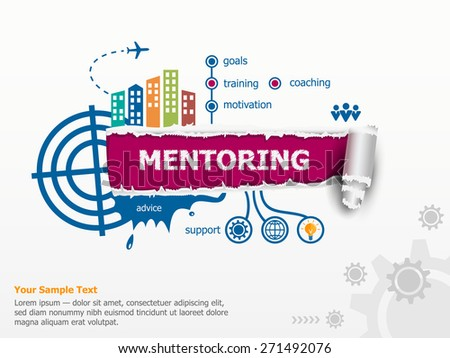 Mentoring concepn and breakthrough paper hole with ragged edges. - stock vector