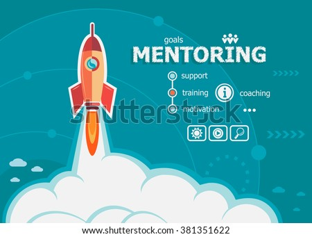 Mentoring design and concept background with rocket. Project Mentoring concepts for web banner and printed materials.