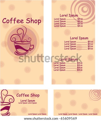 menu and business card design for coffee shop - stock vector
