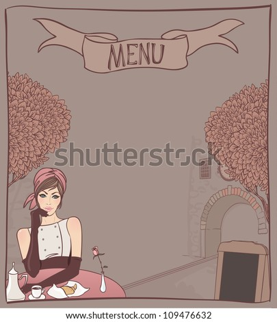 Menu background design template: Beautiful brunette girl in the street cafe in the old city drinking coffee. Vector illustration.