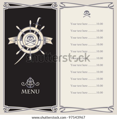 menu bar with pirate ship's helm and sword - stock vector