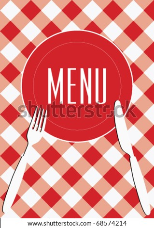 Menu Card Background - Red And White Gingham & Cutlery - stock vector