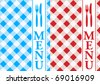 Menu Card Backgrounds - Red and Blue Gingham - stock vector