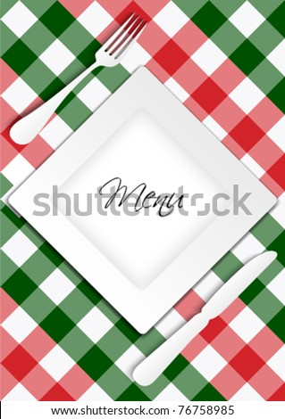 Menu Card Design - Red and Green Gingham Texture With Plate - stock vector