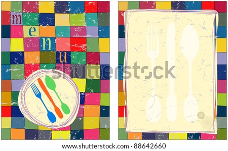Menu card design template, free copy space - stock vector