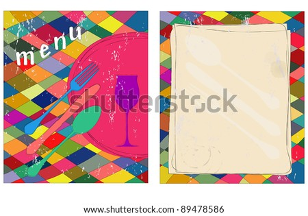 Menu card design template, front and back, free copy space - stock vector