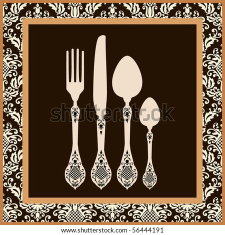 Menu card design with cutlery - stock vector