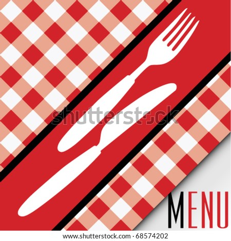 Menu Card - Red and White Gingham Texture and Cutlery - stock vector