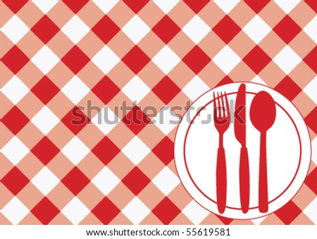 Menu Card - Red Gingham Texture, Plate and Cutlery - stock vector