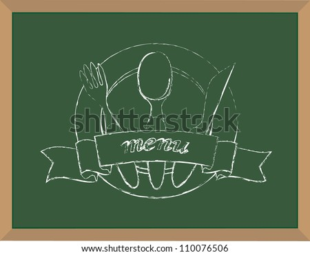 Menu chalk illustration vector - stock vector