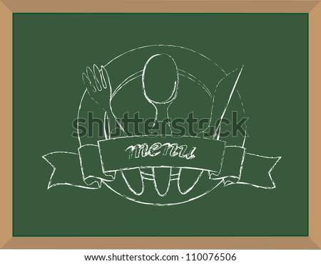 Menu chalk illustration vector - stock vector