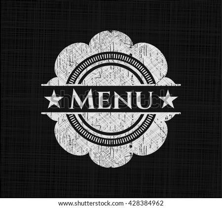 Menu chalkboard emblem written on a blackboard - stock vector