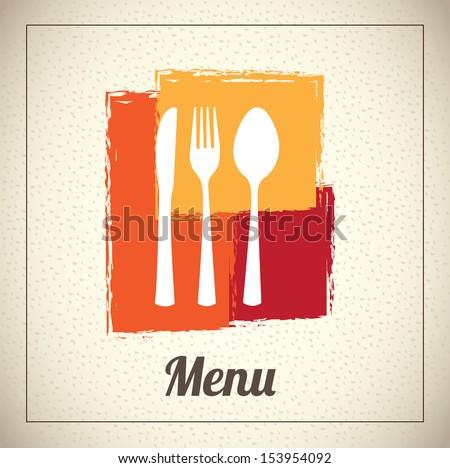 menu design over beige background vector illustration  - stock vector