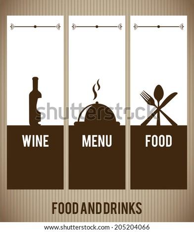 menu design over brown background vector illustration - stock vector