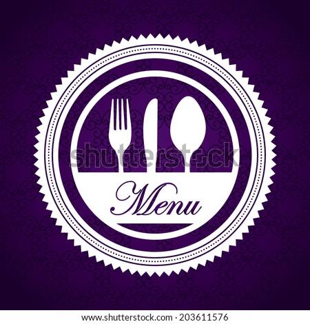 Menu design over purple background, vector illustration - stock vector