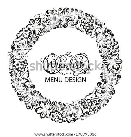Menu design wine list with radial frame. Vector illustration. - stock vector