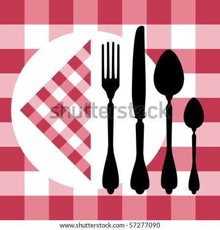 Menu design with cutlery silhouettes on red tablecloth - stock vector