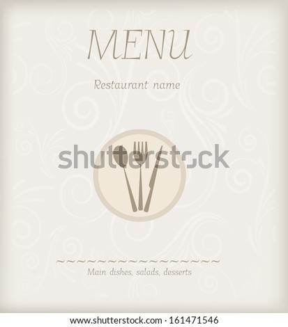 Menu design with fork, spoon and knife on swirly background