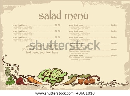 menu design with vegetables and place for text - stock vector